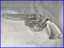 9 Antique Glass Crystal Colt 45 Hand Gun in Original Wood Case RARE