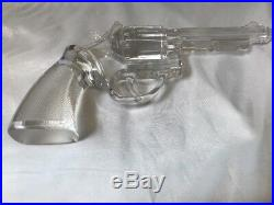 "9/"" Antique Glass Crystal Colt 45 Hand Gun in Original Wood Case RARE"
