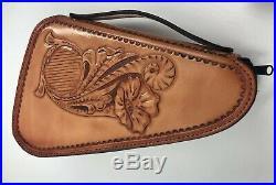 American Handmade Unisex Padded Hand Tooled Leather Gun Case Zip Closure