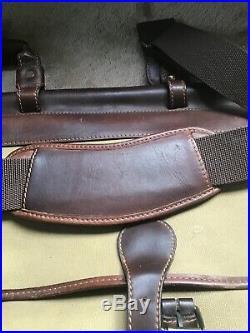 BARON Leather & Canvas TRAVEL Gun CASE BAG Extra Large HAND & Shoulder Strap