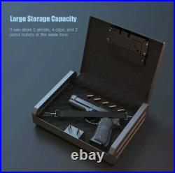 Biometric Fingerprint Gun Steel Safe with Backup Keys Pistol Firearm Case Storage