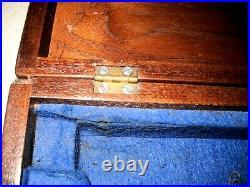 Civil War Colt Navy Pistol Wood Case 14.75 x 6.5 x 2.75 w Key Blue Felt Inter