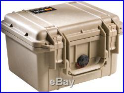Desert Tan Pelican 1300 3 pistol handgun foam gun Travel case + nameplate