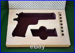 For Colt M1911A1 show box with bullet slots brown cover red velvet with gilding
