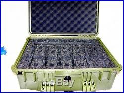 Green Pelican 1550 Travel Case with 6 Pistol 6 Handgun foam storage +nameplate