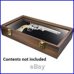 Gun Box with Foam insert and Glass Top 10 x 17.5 x 3 Dark Wood