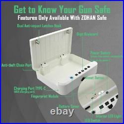 Gun Briefcase Smart Lock Hard Case Pistol Money Security Box Handgun Storage