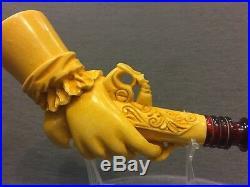 Gun in Hand Pipe BY SADIK YANIK Block Meerschaum-NEW W CASE#18 Free Shipping