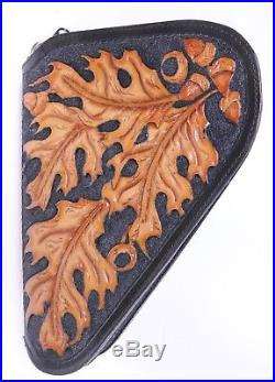 HAND MADE TOOLED LEATHER Small PISTOL GUN RUG CASE BROWN FLEECE LINED OAK LEAVES