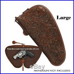 Hand-Tooled & Hair LEATHER HANDGUN CASE Pistol, Gun, Padded, Zipper Nocona
