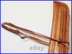 Hand Tooled Leather Gun Rifle Case Both Sides Tooled Lined, Great Stitching