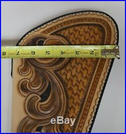 Handtooled Hand Made Large Leather Pistol Hand Gun Case Zip Up Zippered Fleece