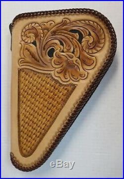 Handtooled Hand Made Leather Pistol Hand Gun Case Zip Up Zippered Fleece Lined