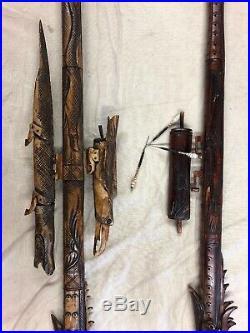 Indonesian / Borneo Hand Carved Wooden Blow Gun Dragon Gator Bird Dart Case