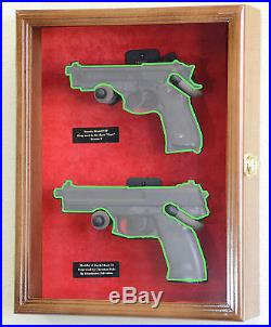 Large/ Double Pistol Handgun Revolver Gun Display Case Cabinet Rack