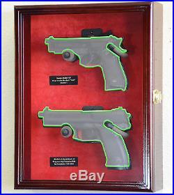 Large/ Double Pistol Handgun Revolver Gun Display Case Cabinet Rack Shadowbox