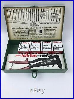 Marson HP-2 Klik Fast Hand Riveter Rivet Gun No 200 Kit With Rivets Metal Case