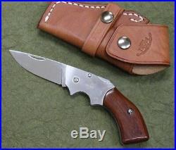 Moki knife Gun Brade MK-500B Folding knife withleather case Hand made
