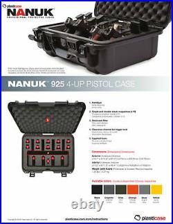 Nanuk 925 Waterproof TSA Safe case QUAD Glock, 1911, SIG, Ruger, 4-UP