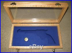 New Custom Hinged Window Pistol Gun Case For Colt Python, 1911, Saa, Smith