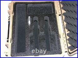 New Tan Armourcase Waterproof 1450 case + precut 2 Revolver pistol handgun foam