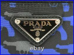 PRADA Tessuto Gun Printed Nylon Pouch Case Hand Bag Black Blue Gray Silver Italy