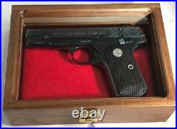 Pistol Gun Presentation Case Glass Top Wood Box For Colt 1903 1908 Hammerless 32