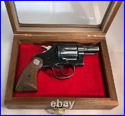 Pistol Gun Presentation Case Glass Top Wood Box For Colt Cobra Revolver Lawman