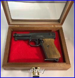 Pistol Gun Presentation Case Glass Top Wood Box For Mauser 1934 German Firearm