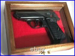 Pistol Gun Presentation Case Glass Top Wood Box For Walther Ppk Firearm German