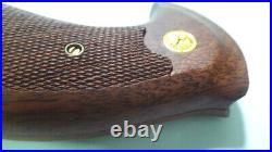 Primitive Grip Colt, Python Brown Wooden Grips Colt Python Revolver Checkered