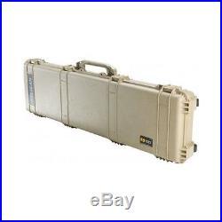 Rifle Gun Case 50.5 Waterproof Dustproof Crushproof Wheels Foam Lock Tan NEW