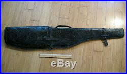 Rifle Scabbard Vintage Hand Tooled Leather Black Western Gun Case Shotgun