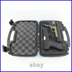 Tactical Gun Hard Case Double Pistol Storage Box Padded Carry Hunting Military