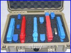 Tan Armourcase 1450 case includes precut 5 pistol handgun foam +1500D +nameplate