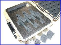 Tan Armourcase 1450 case with precut 3 Revolver pistol handgun foam +nameplate