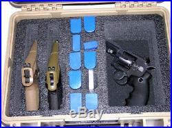 Tan Armourcase Waterproof 1450 case + precut 2 pistol handgun Quickdraw foam