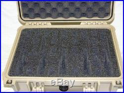 Tan Pelican 1450 with custom 5 pistol handgun foam gun case +nameplate +Lock