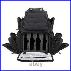 Thick Foam Padded Handgun Case Tactical Range 4-Pistol Backpack Rainfly & Molle