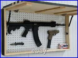 Thin Blue Line USA Flag Gun Concealment Cabinet Secret Hidden Storage Rack Case