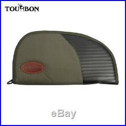 Tourbon Nylon&Leather Hand Gun Case Soft Padded Pistol Case Range Bag 14 Green