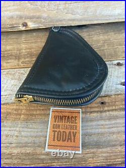 Vintage Blue Leather Baby Browning Pistol Bag Gun Case Rug Brass Zipper