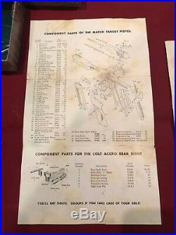 Vintage COLT WOODSMAN. 22 MATCH TARGET Factory Woodgrain Box Case with Paperwork