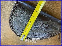 Vintage Leather Pistol Case Sherpa Lined / Hand Tooled Design Gun Storage