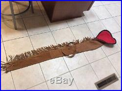 Vintage Leather and Suede Lined Fringed Scabbard Rifle Gun Case Sleeve Hand Made
