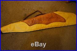 Vintage Long Gun Rifle Case Tan Hand Tooled Leather Vtg Retro Western Antique