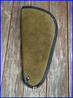 Vintage Soft Red Head Green Suede Pistol Gun Hand Gun Case 13.5 X 6.5 Zipped Up