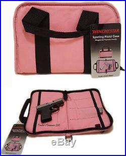 Winchester Pink Women's Sporting Pistol Revolver Case Zippered Hand Gun Bag 11